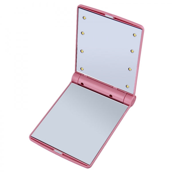 Hot Portable LED Mirror Makeup Cosmetic 8 LED Lights Lamps Folding Compact Pocket Mirror Pink