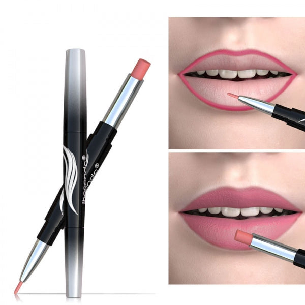 IBCCCNDC Double Head Automatic Rotation Lipstick Lip Liner Moisturizing Matte - Maple Color