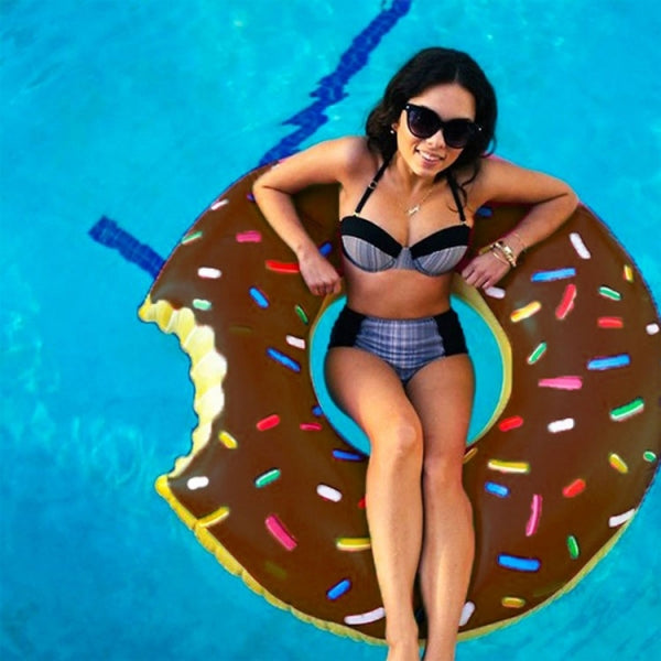 60cm Inflatable Swim Ring Float Raft Cut Chipped Strawberry Donut Style Coffee