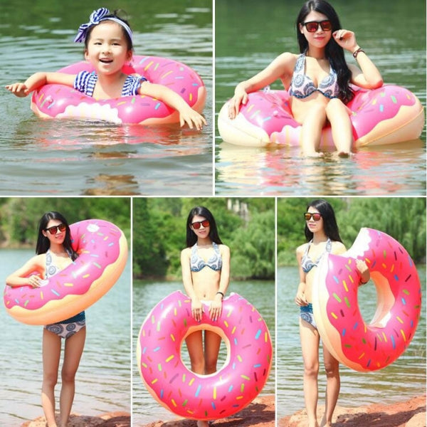 60cm Inflatable Swim Ring Float Raft Cut Chipped Strawberry Donut Style Pink