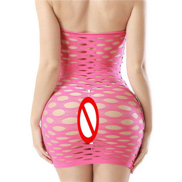 Fishnet Underwear Elasticity Cotton Sexy Costumes Mesh Baby Doll Dress Erotic Lingerie