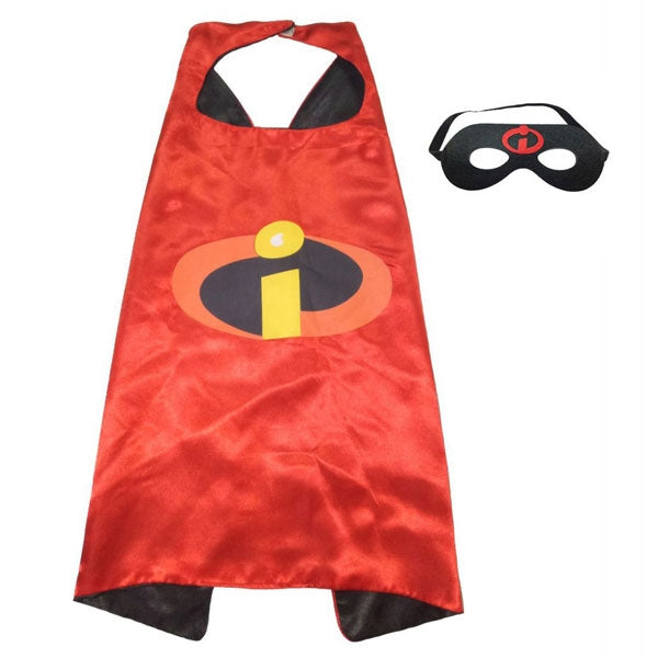 Super Hero Cosplay Costume Kids Boy Girl Cape & Mask Agent Team Suit Red