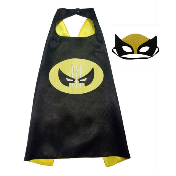 Kids Cosplay Costume Super Hero Cape & Mask Wolverine Child Suit Black & Yellow