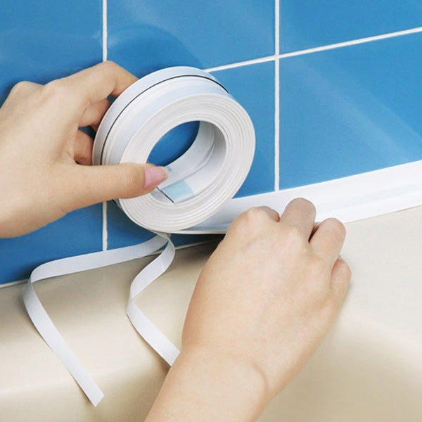 Waterproof Moldproof Adhesive Tape For Kitchen Bathroom Wall Sealing White 3.2M x 3.8cm/126inch x 1.5inch