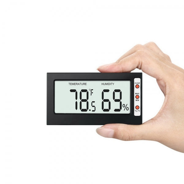 LCD Display Digital Thermometer Hygrometer with Memory Function Black
