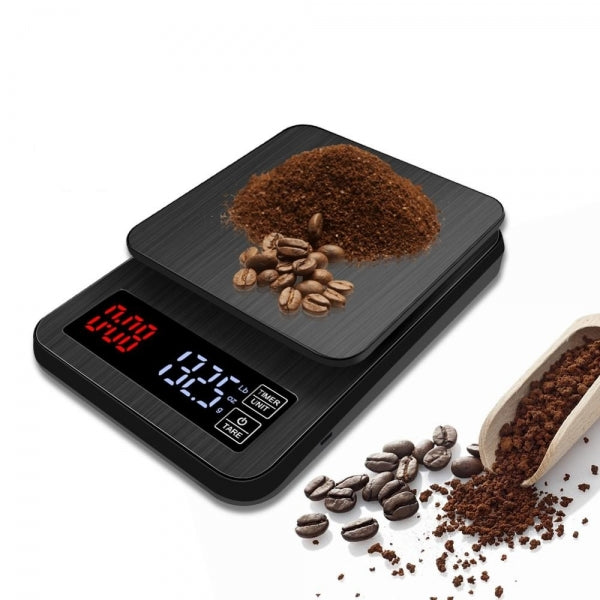 LED Electronic Drip Coffee Scale with Timer for Household Cooking Baking Weighing with Precision Sensors Black - 10kg/1g