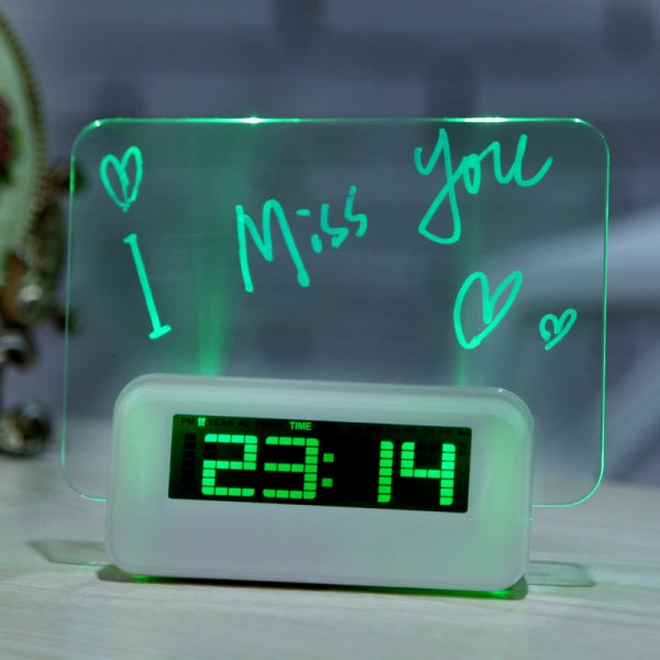 4-Port Hub LED Projection Digital Alarm Clock w/ Message Board Green