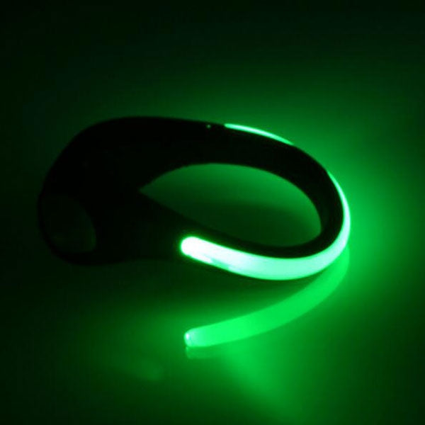 LED Luminous Shoe Clip Night Light Safety Warning Cycling Running Sport Light Green Light & Black Shell