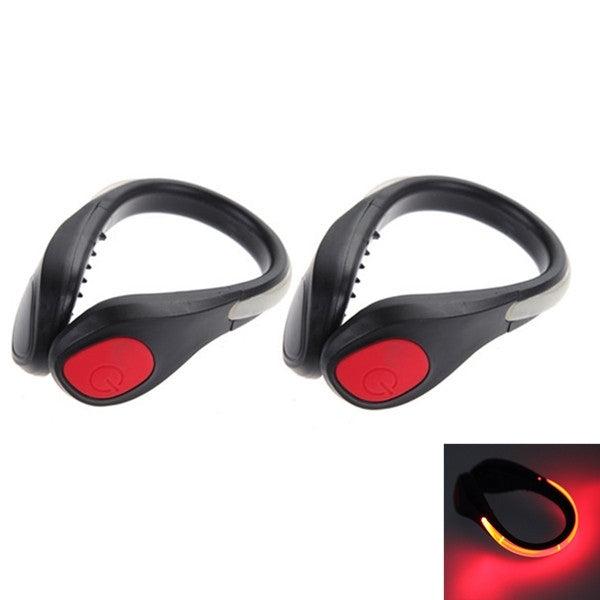 LED Luminous Shoe Clip Night Light Safety Warning Cycling Running Sport Light Red Light & Black Shell