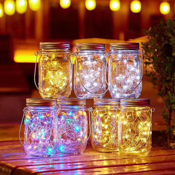 1Pc LED Night Lamp Mason Jars 20LEDs 2M Fairy Cap Light Solar Sensor Lights Garden Decor Light String 2021 Christmas Lights Outdoor