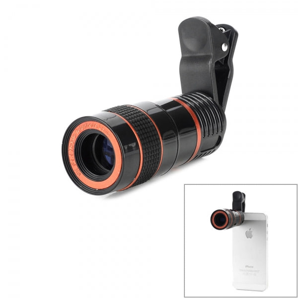 LIEQI Universal 8X Zoom Telephoto Lens with Clip for Cellphone/Tablet Red & Black