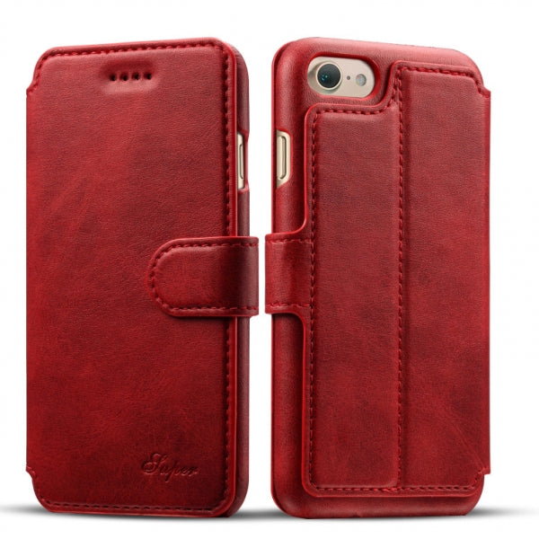 Leather Flip Cover Wallet Back Case w/ Card Cases for iPhone 8/7 Red