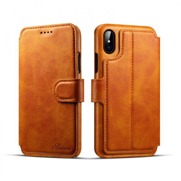 Flip Back Cover Wallet Case Leather w/ Card Cases for iPhone X Khaki