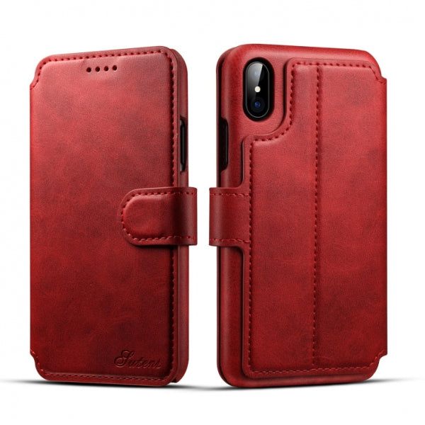 Leather Flip Cover Wallet Back Case w/ Card Cases for iPhone X Red