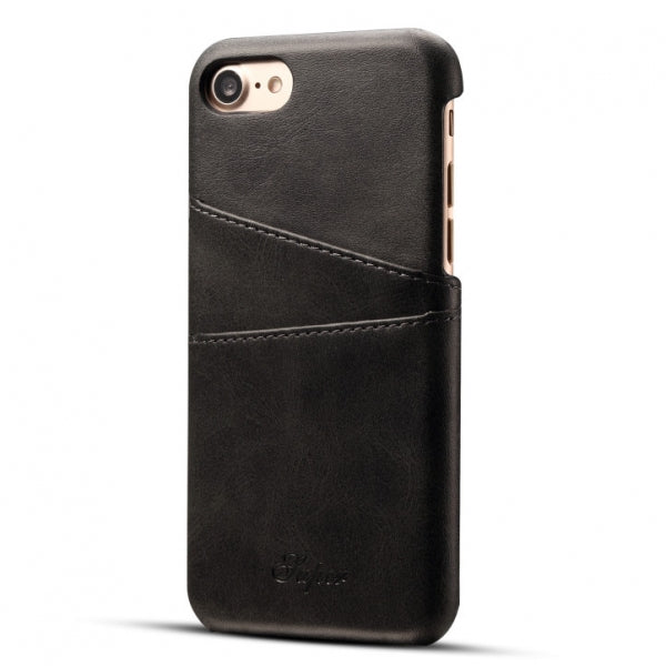 PU Leather Skin With Card Holder Back Cover Case for iPhone 8/7 Black