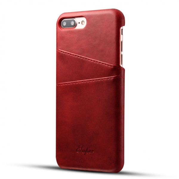 Leather Phone Back Case for iPhone 8/7 Plus With Card Cases Red