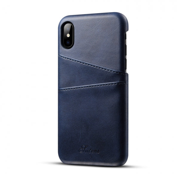 Slim Leather Phone Back Case With Card Cases for iPhone X Blue