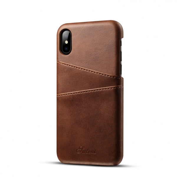 Thin Soft Leather Phone Back Case With Card Cases for iPhone X Brown