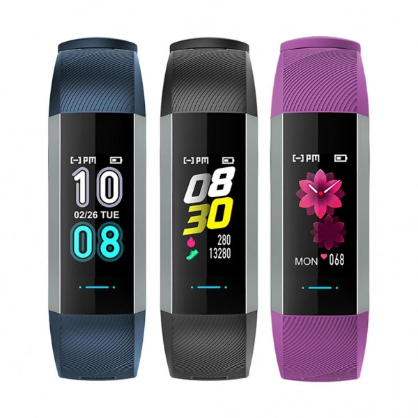 M2 Max IP67 Waterproof Color Screen Bluetooth Heart Rate Blood Pressure Sleep Monitor Multi-sport Mode Tracker Fitness Smart Bracelet - Black/Blue/Purple