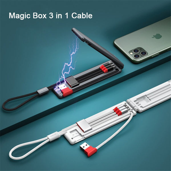 Magic Box Mini Portable Charging Cable Folding 3 in 1 Charging Line Micro USB Quick Charge Cable For iPhone Android Type c