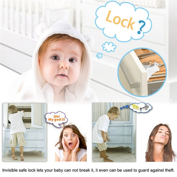 Magnetic Baby Safety Lock Drawer Invisible Multifunction Lock with 4 Locks 1 Key