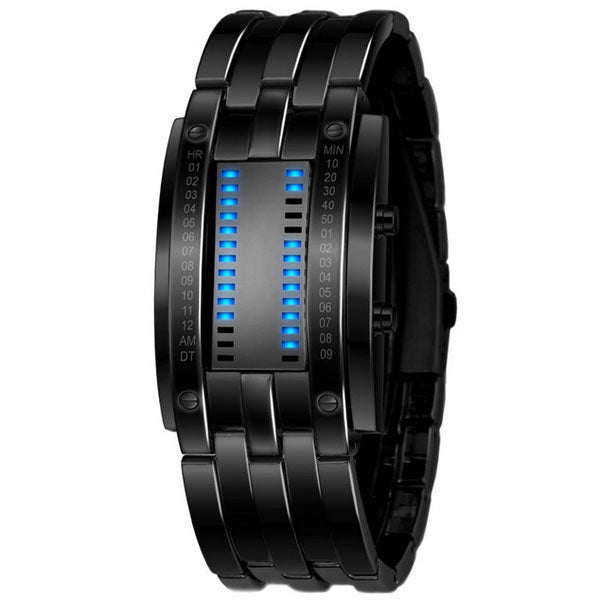 Men Binary Stainless Steel Date Digital LED Electronic Display Sport Watch Black & Blue Light