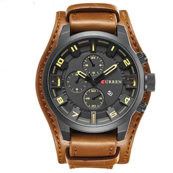Men Military Quartz Watches Top Brand Luxury Leather Brown + Black