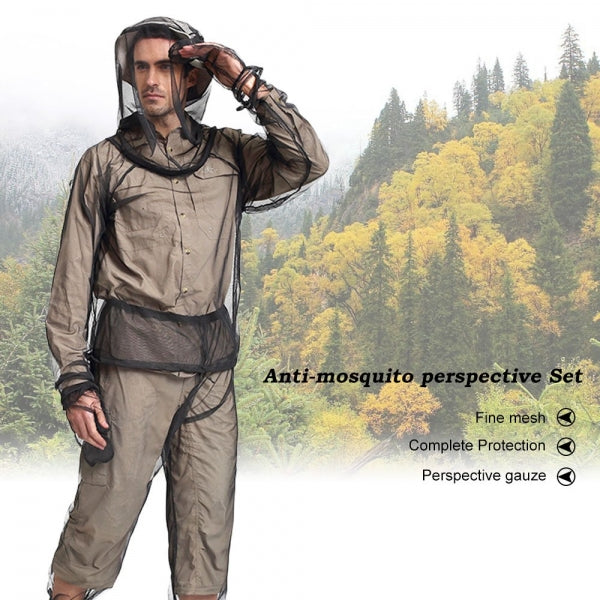 L/XL Unisex Anti-Mosquito Suit, Repellent Jacket Mesh Hooded Suits Ultra-fine Insect Protective for Fishing Hiking Camping Gardening