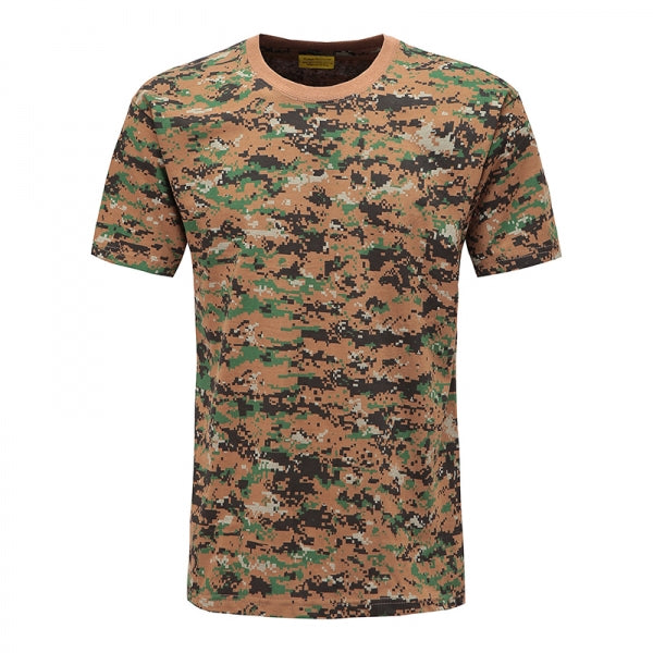 Mens Army Military Tactics Camouflage Short Sleeves T-shirt O-Neck- Size L & Digital Jungle