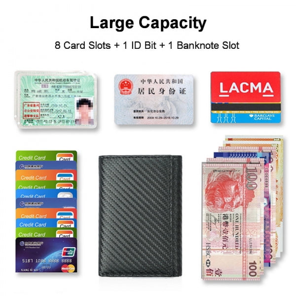 Men's Slim Fashion RFID Blocking Carbon Fiber Leather Trifold Wallet with ID Window & Credit Card Holder
