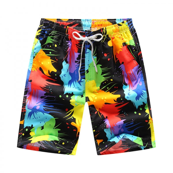 Mens Summer Printing Casual Beach Surf Fashion Quick Drying Board Shorts Drawstring Shorts - #07 & Size L