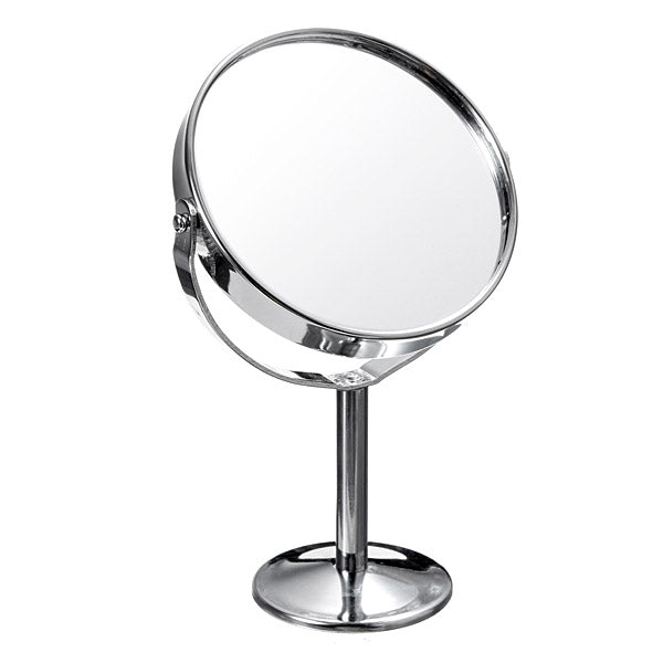 Metal Double Sided Round Makeup Cosmetic Mirror with 1:2 Magnification and Regular Imaging Small Size Silver