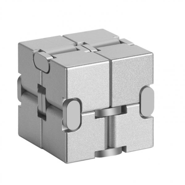 Metal Infinity Cube  Aluminum Alloy White Fidget Pressure Reduction Toy - Silver
