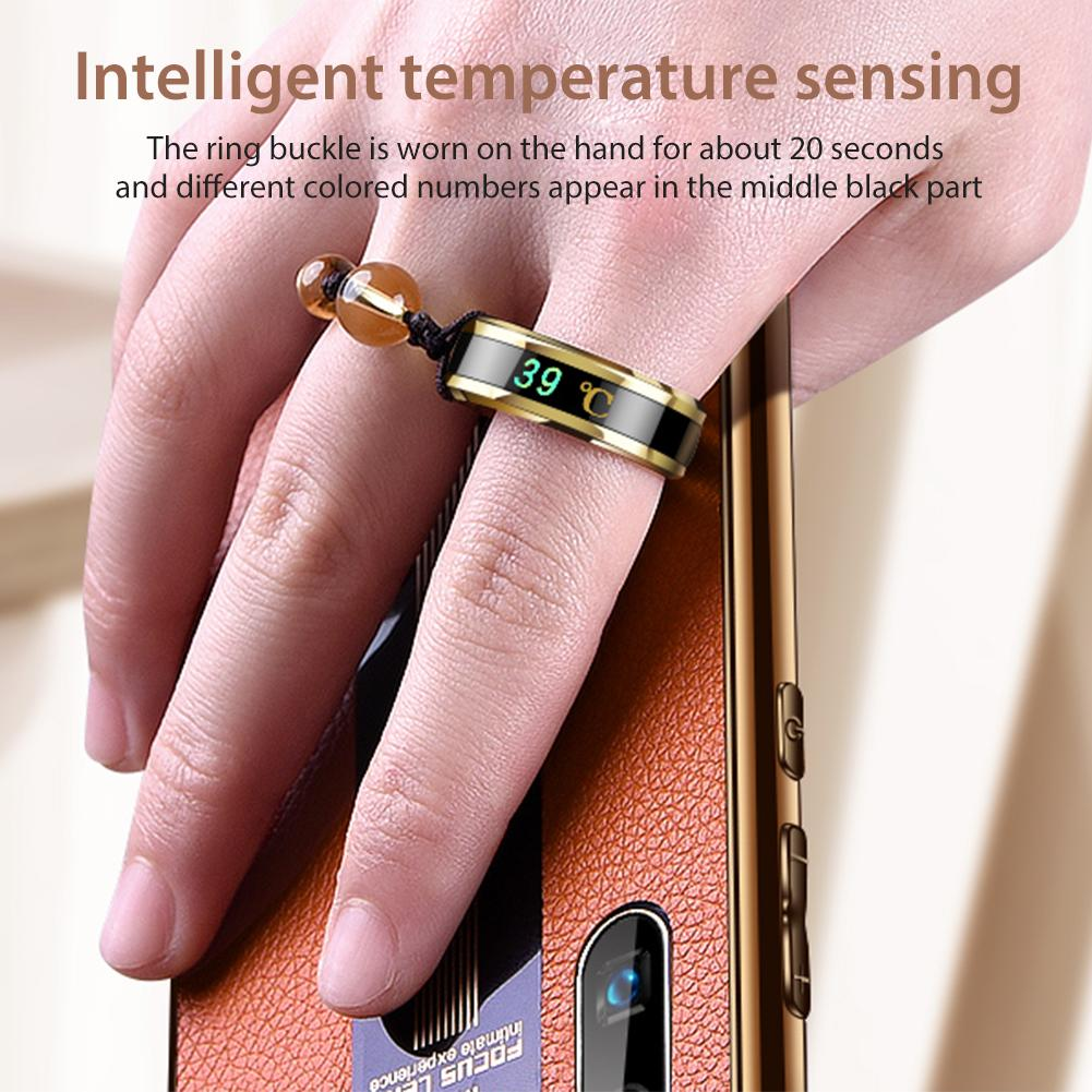 Temperature sensing Ring or metal lanyard suitable for push-button phones. Ribbon finger mobile holder for iPhone 7 Plus 8 6S accessories (for mobile phones)