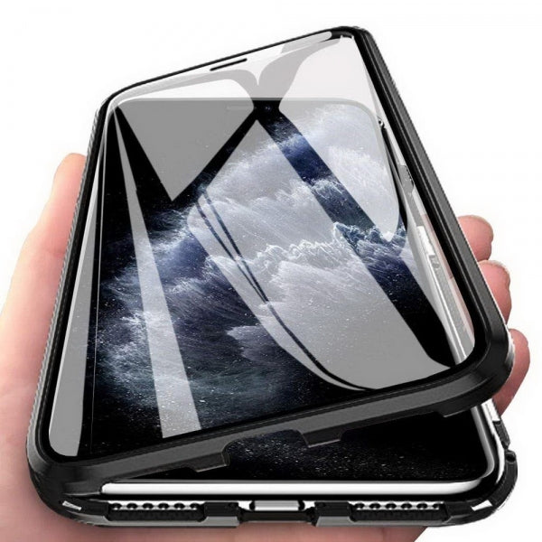 Metal Magnetic Case Double Side Phone Case Tempered Glass Magnet Case For iphone XR Transparent Black