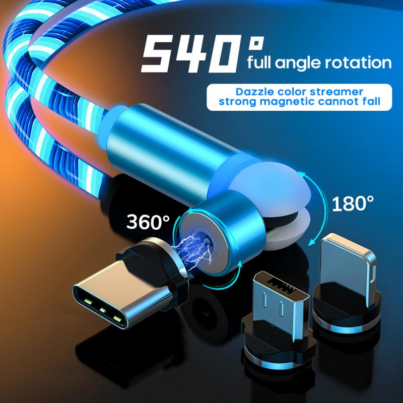 3in1 Charging Cable rotation Magnetic Data Cable 540 Degree Spherical Rotating Streamer For iPhone Samsung Xiaomi ect
