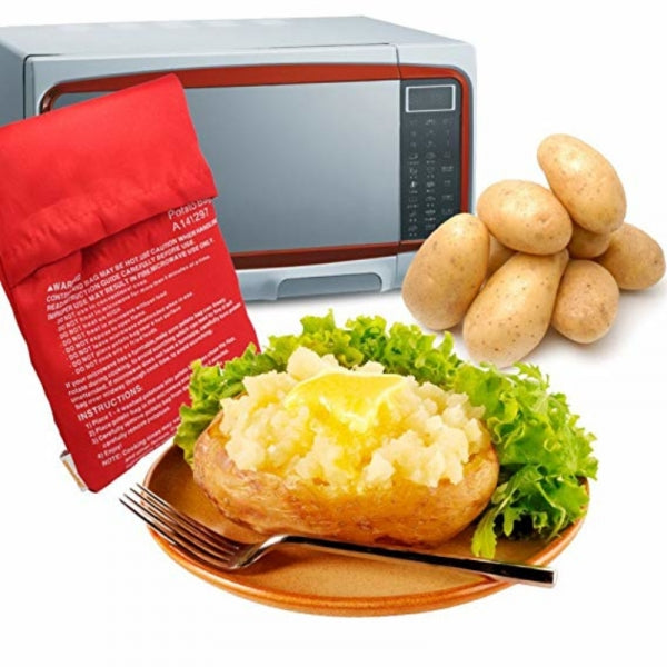 Microwave Oven Baked Potatoes Bag Red