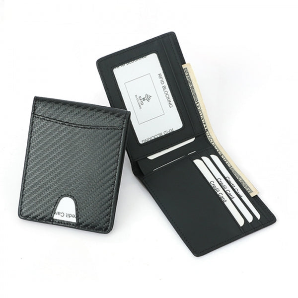 Mini Slim Carbon Fiber RFID Blocking Card Holder Money Wallet - 7 Card Slots & 1 Cash Slot