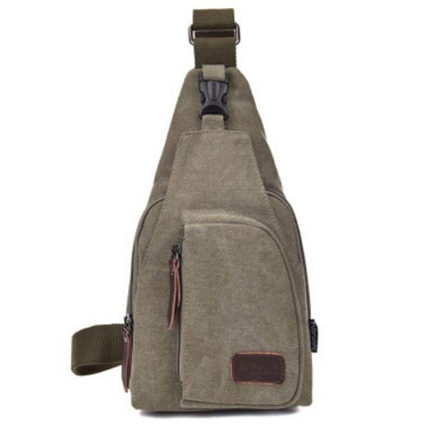 Canvas Sling Backpack Multifunction Sling Shoulder Bag Army Green - L
