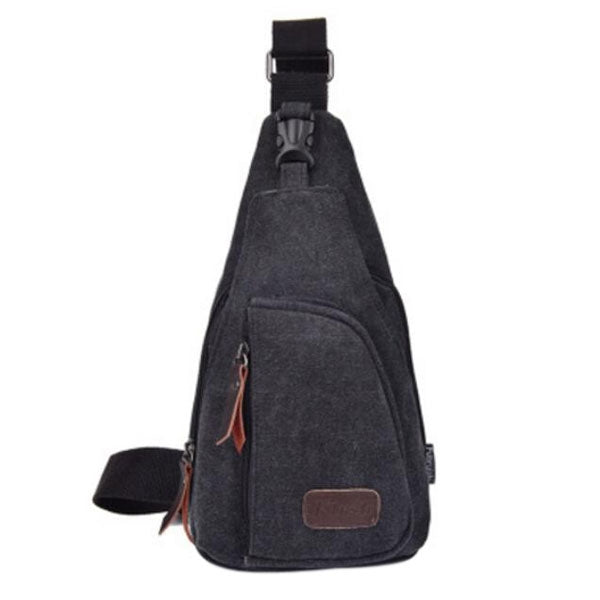 Portable Canvas Sling Backpack for Man Sling Shoulder Bag Black - L