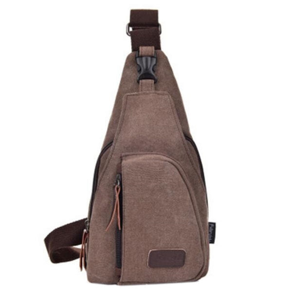 Canvas Sling Backpack Portable Sling Shoulder Bag for Man Coffee - L