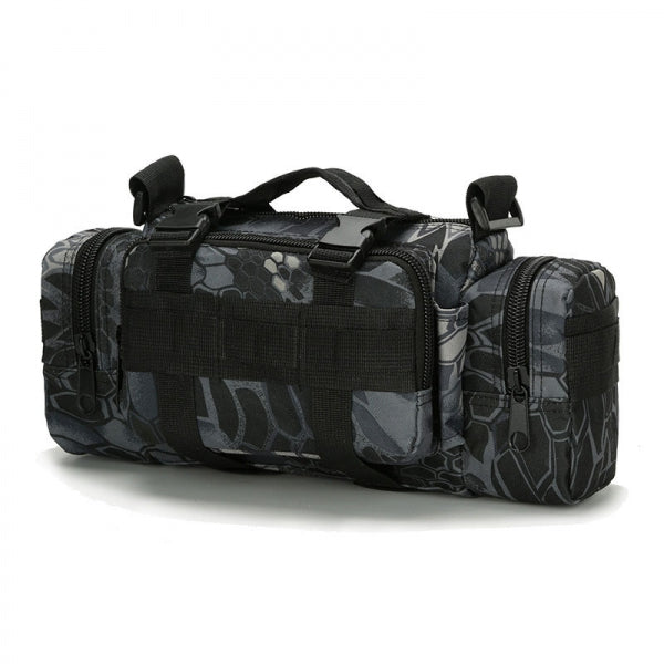 Multi-function Tactical Military Camping Hiking Sport Bag Waist Pack Python Stripe Black