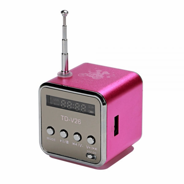 Mini Portable Multimedia Speaker Support MP3 Player USB TF Micro SD Card FM Radio Rose Red