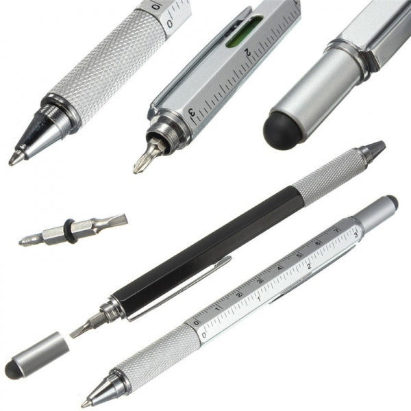 6-in-1 Multifunction Ballpoint Pen with level and screwdriver - Silver