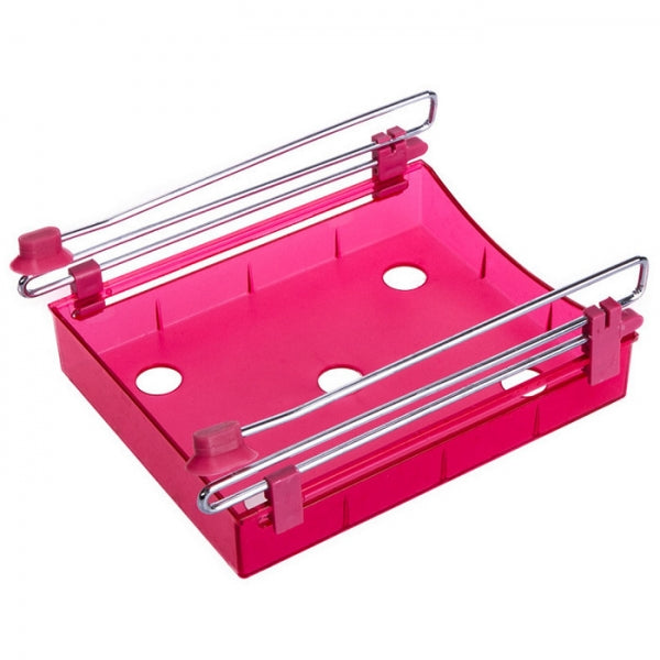 Multipurpose Fridge Storage Sliding Drawer Refrigerator Organizer Space Saver Shelf Red