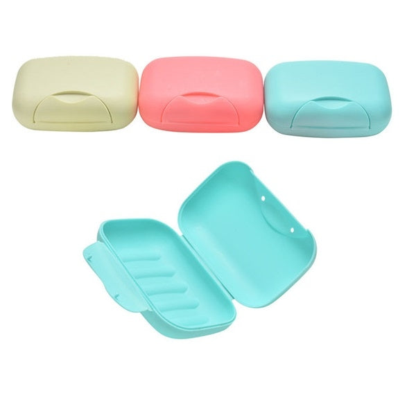 Plastic Travel Home Soap Box Dish with Cover Random Color Size L