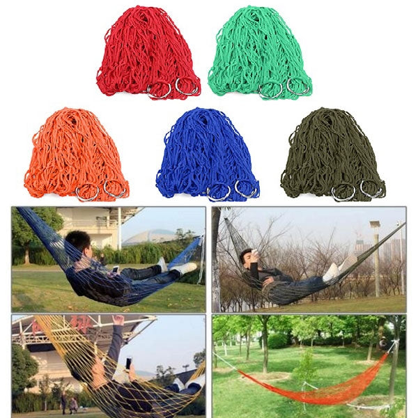 Outdoor Camping Nylon Hammock Hanging Mesh Net Sleeping Bed Army Green