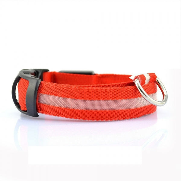 Nylon LED Pet Dog Collar for Night Safety with CR2032 Battery Red M
