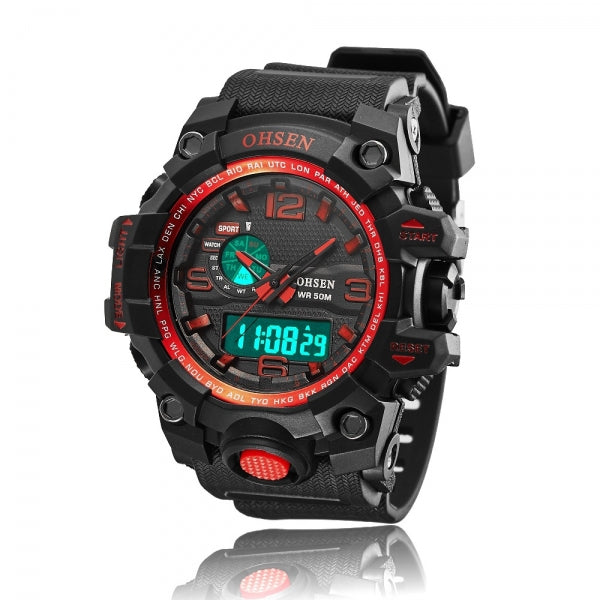 OHSEN AD1606 30M Waterproof Multifunction Week Analog Digital Sport Men Quartz Watch Red
