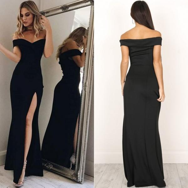 Off Shoulder Casual High Waist Long Maxi Dresses Skinny Slim Party Evening Dress - Black/Pink (S-XL) - stringsmall